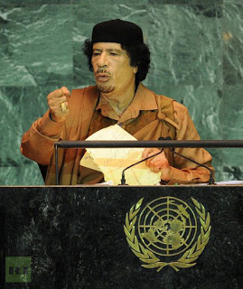 COLONEL GADDAFI SPEAKS DURING THE UN GENERAL ASSEMBLY MEETING, 23 SEPTEMBER  2009