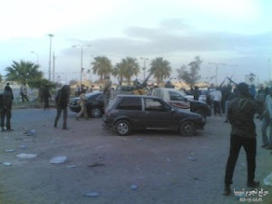 Rebels in front of the NATO military council 27-3-2012 Libya news