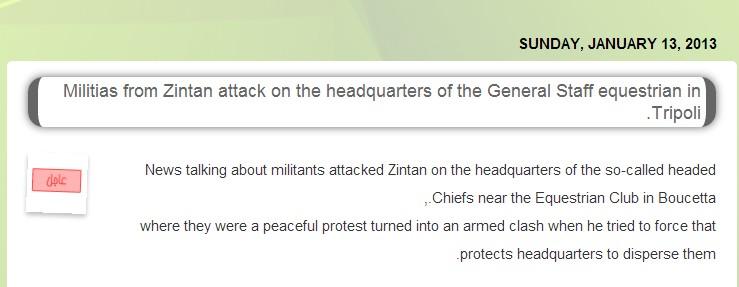 Zintan attacks RAT general staìff in Tripoli