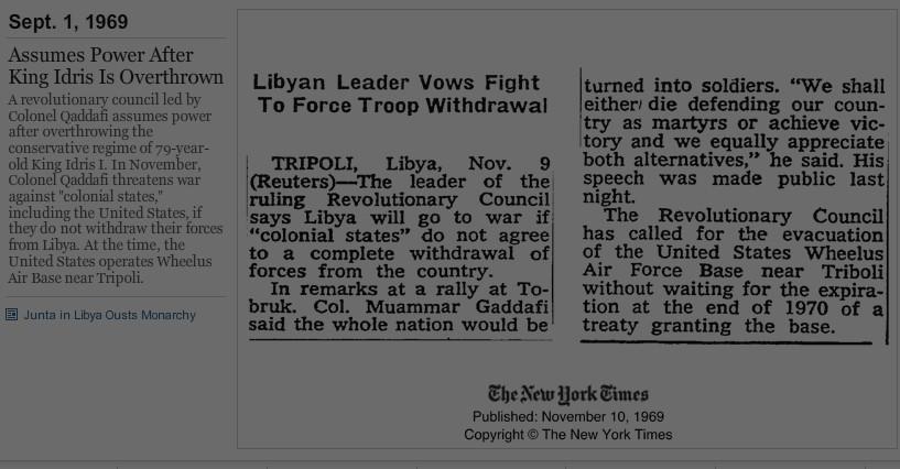 Timeline 10 NOV 1969 NYT