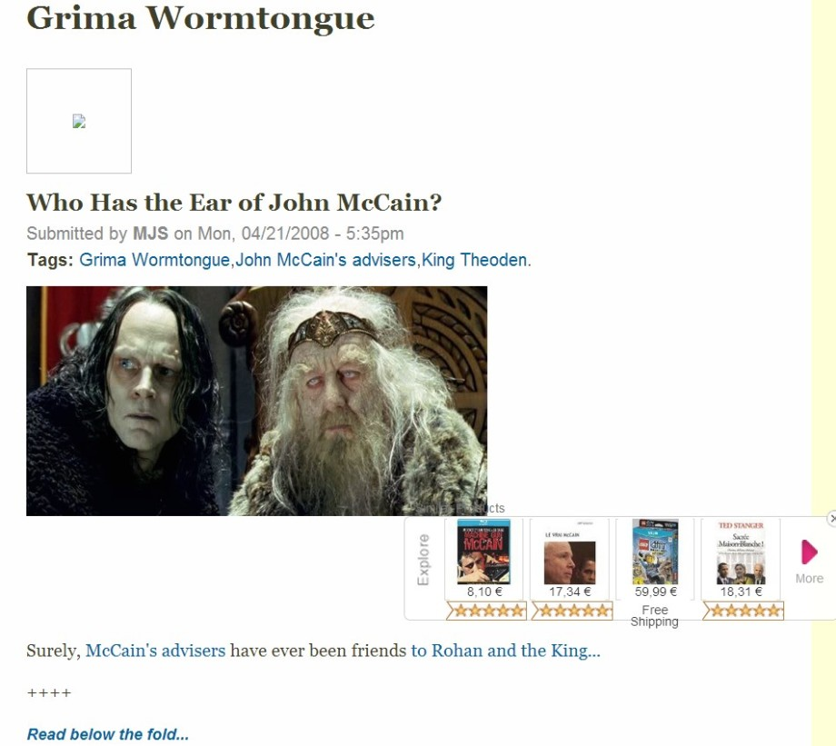 John McCain is Grima Wormtongue