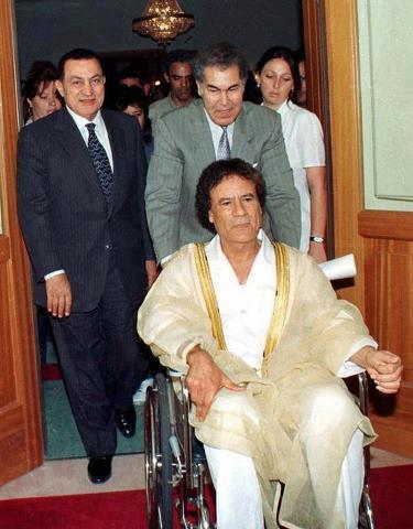 Mu after surgery in 1998, shown w Mubarek