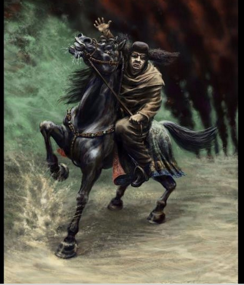Mu on a black horse
