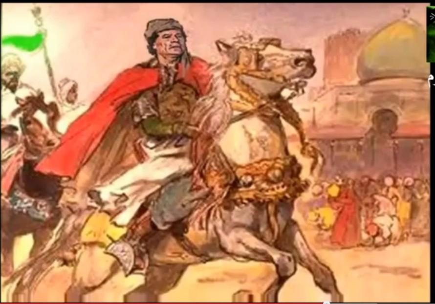 Mu sketch of riding horse as Mahdi