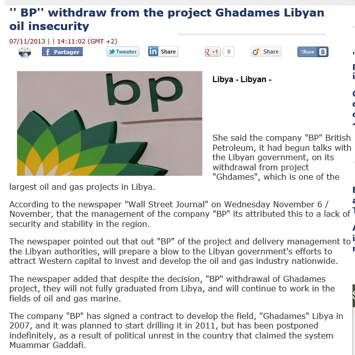 BP news at Libyan News 07 Nov 2013