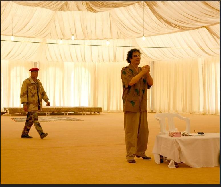 Mouammar Kadhafi durant une conférence de presse concernant l'Union africaine. Le 30 avril 2007.