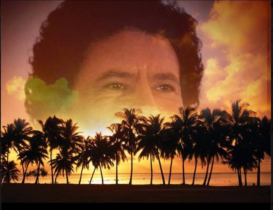 Mu sunset over tropical desert