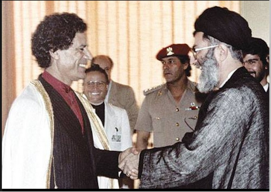 Iran's Supreme Leader Ali Khamenei with Colonel Muammar Gaddafi in 1986 in Zimbabwe.