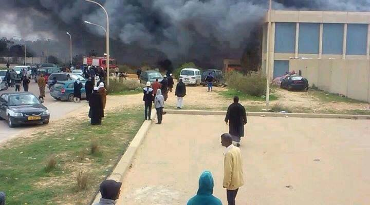 MISURATA MILITIAS burn TAWERGHA CAMP in Janzour, Tripoli w ammo provided by USA & NATO