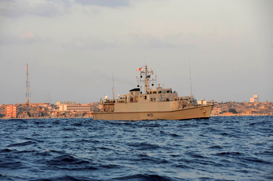 HMS Bangor blasts mines in Libyan mission