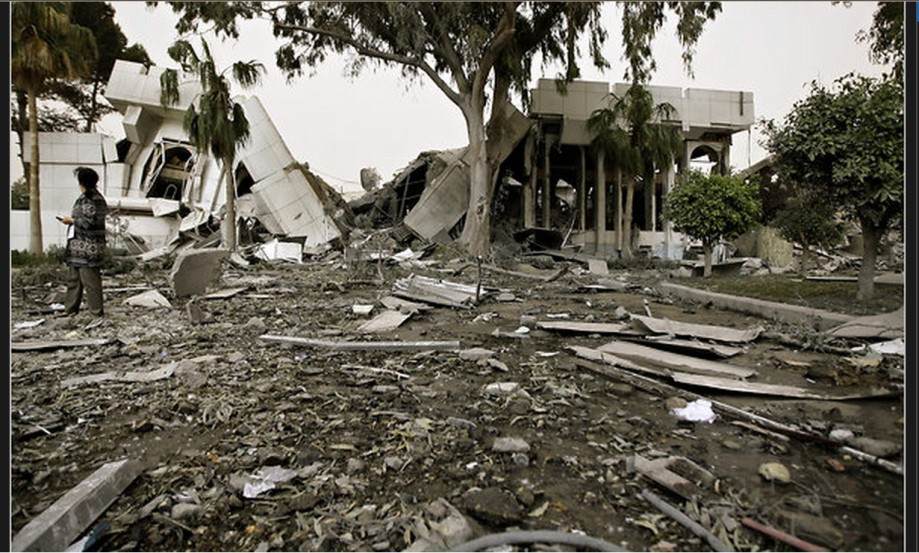 offices of Colonel Qathafi that were damaged in the NATO strike on 25 APRIL 2011