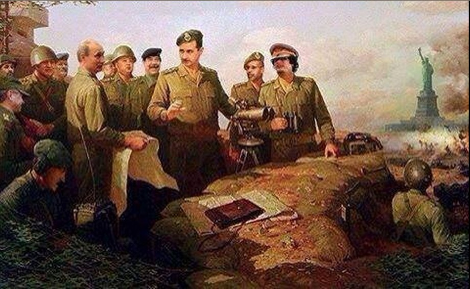 Mu, Putin, Assad and Saddam in a painting stategy on USA