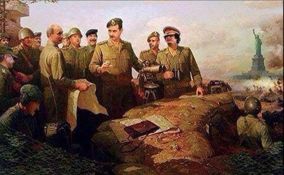 Mu, Putin, Assad and Saddam in a painting stategy on USA