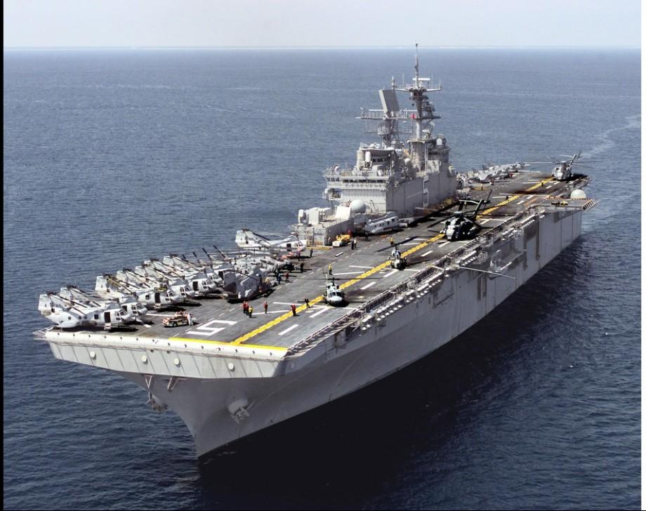 USS-BATAAN, American gunship  beside Libyan coast