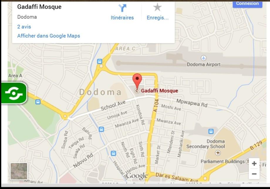 Map of Dodoma for the Gadafi Mosque in Tanzania
