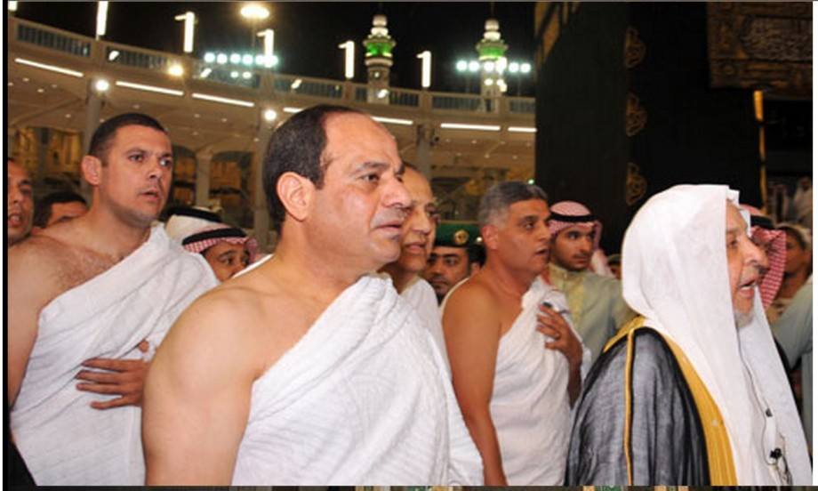 President Abdel Fattah al-Sisi performing the 'umrah' at the Haaj in Saudi Arabia, 2