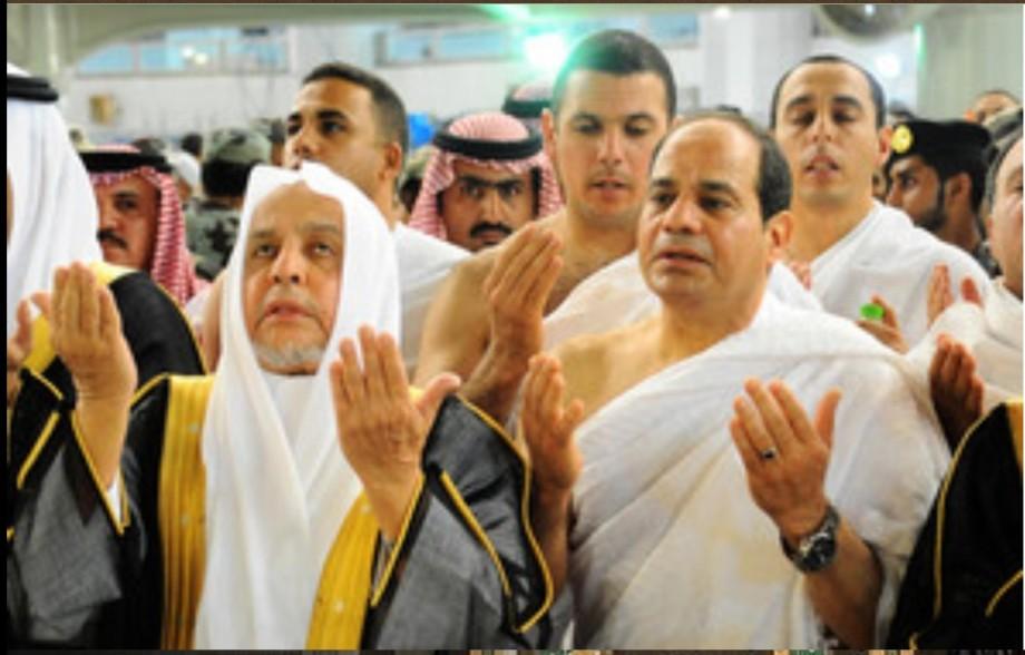 President Abdel Fattah al-Sisi performing the 'umrah' at the Haaj in Saudi Arabia