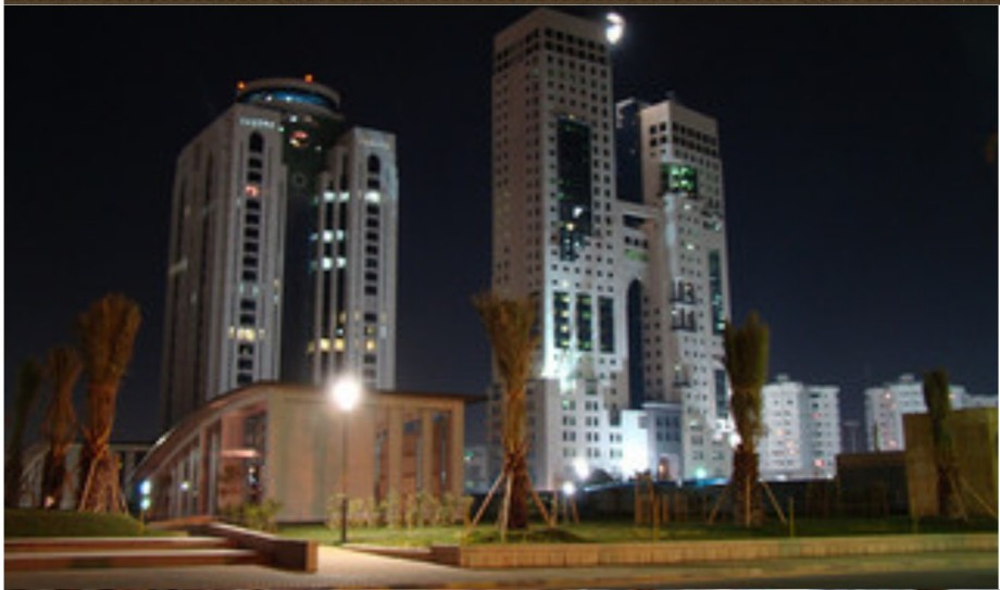al-Fateh towers and the Pillars of Tripoli at Night