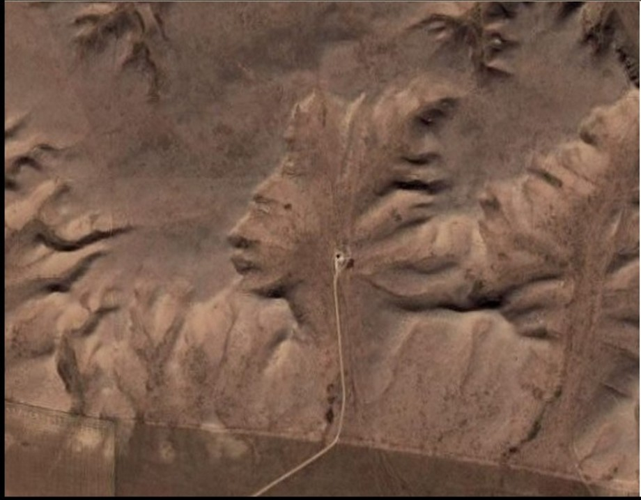 Carved face in North American only viewable by Satellite