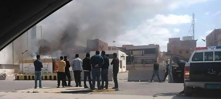 fire at 'Hall of the people' in Ghargharesh, Tripoli
