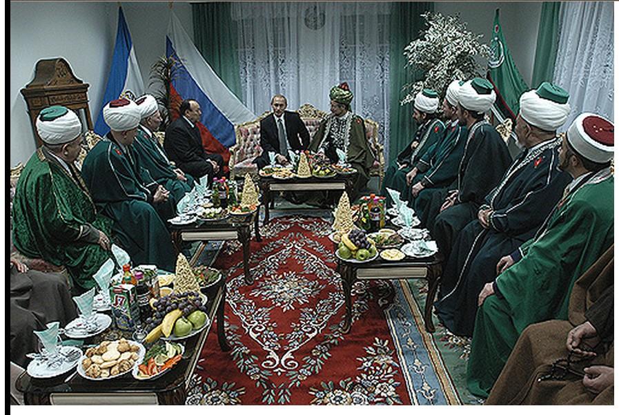 Putin and Muslim religious leaders of Bashkortostan