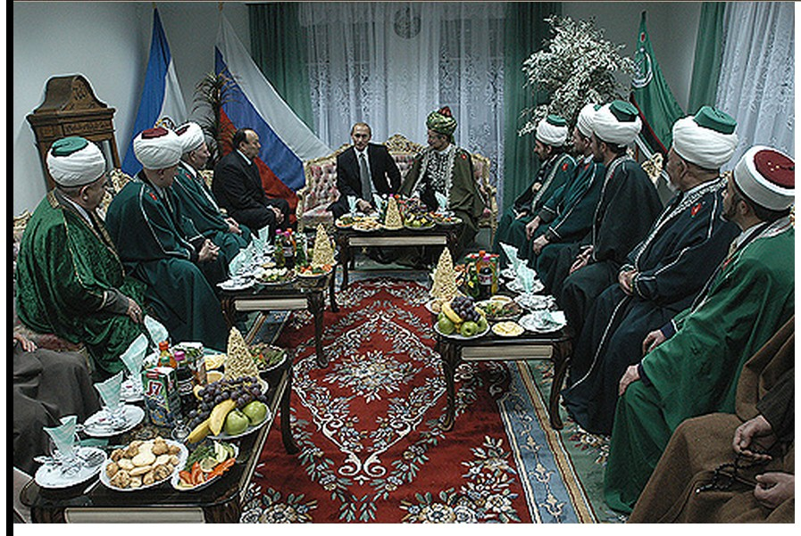 Putin and Muslim religious leaders of Bashkortostan