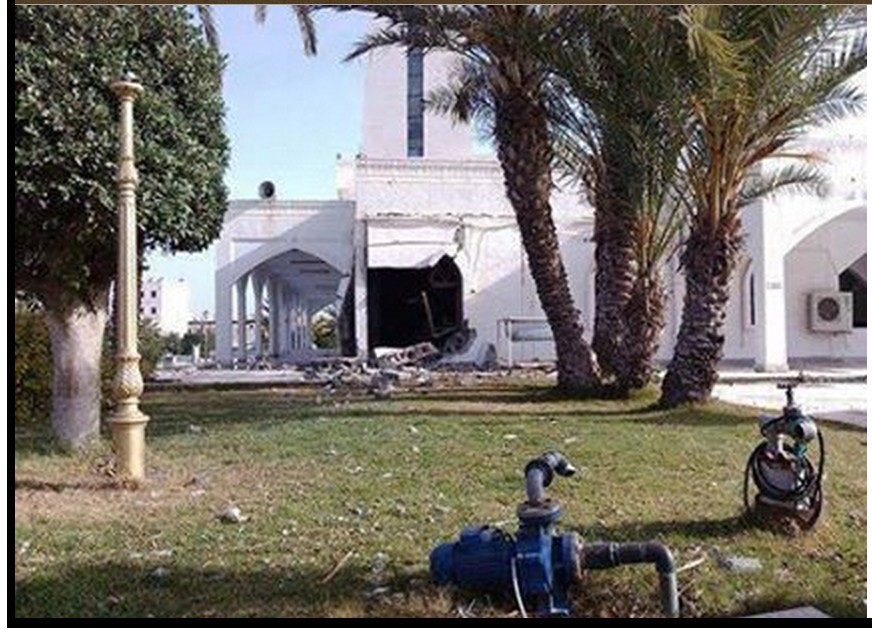 bomb damage to the Jerusalem Mosque in Tripoli on Street Abohradh