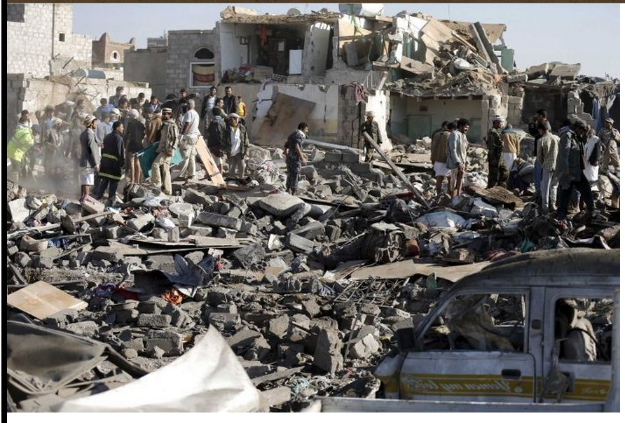 destruction caused by the Saudiis upon Yemen