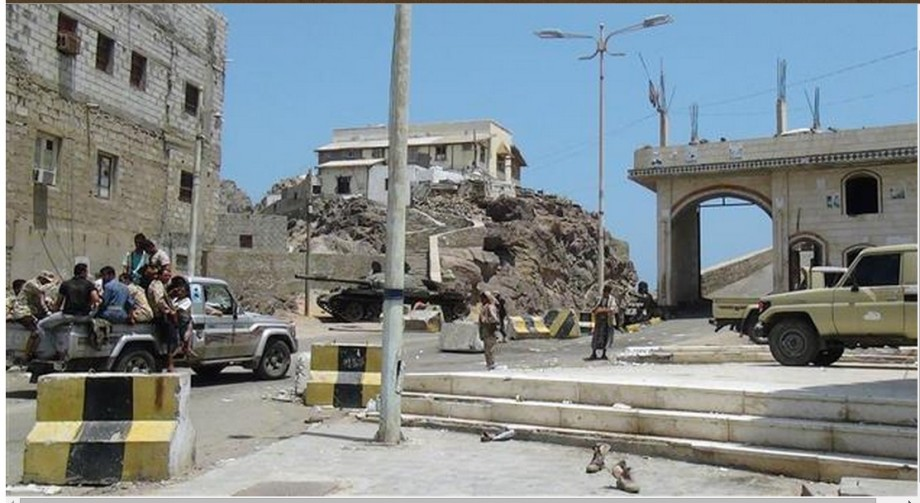 Houthi fighters gather in the Crater district of the southern port city of Aden on 05 April 2015