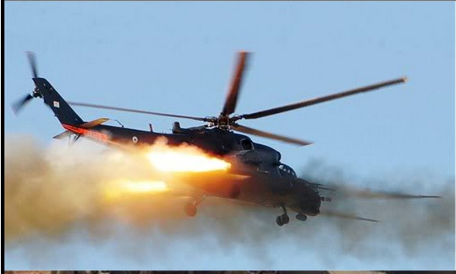 MI-35 attack copter in flight