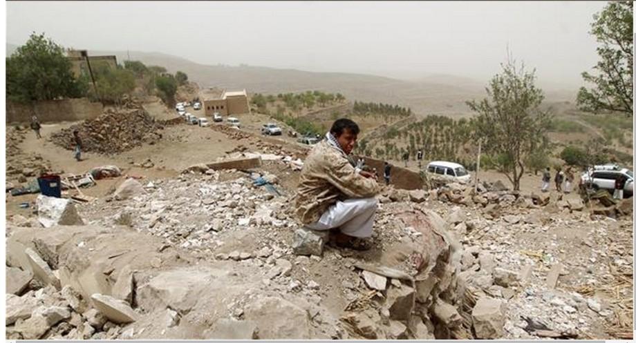village of Bani Matar, Yemen, 05 April 2015 hit by Saudi air-bombs