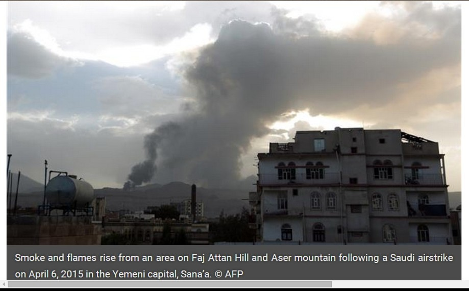 area on Faj Attan Hill and Aser mountain following a Saudi airstrike on 06 April 2015 in the Yemeni capital, Sana'a