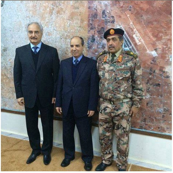 Generals Nazdawi and Hftar, flank the permanent foreign Representative of Libya, Abdel Aziz