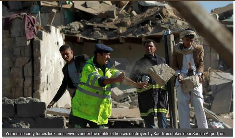 Saana airport, 26 MARCH 2015, hundreds of Yemeni buried alive