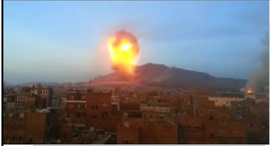 Saudiis bombing the Mount of Sanaa