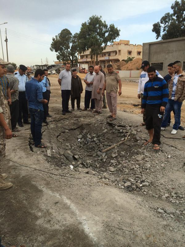 crater left by  DAASH suicide bomber at Dafniya gate, MISURATA