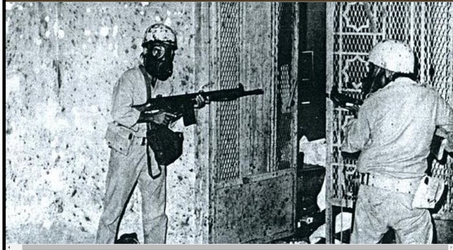 Crazied WAHHABI-Saudi soldiers fighting their way into the Qaboo Underground beneath the Grand Mosque of Mecca, 1979