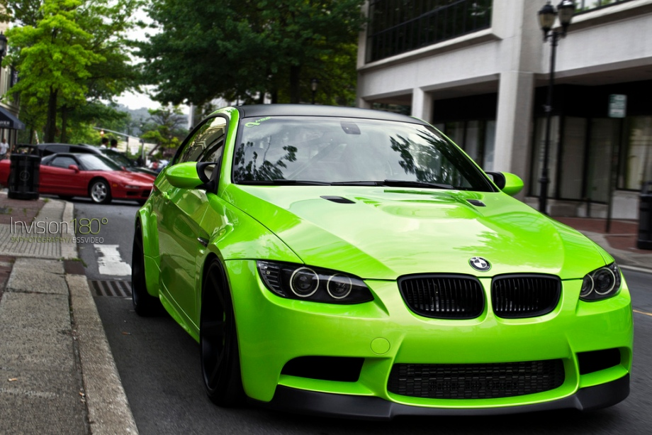 Green BMW explodes