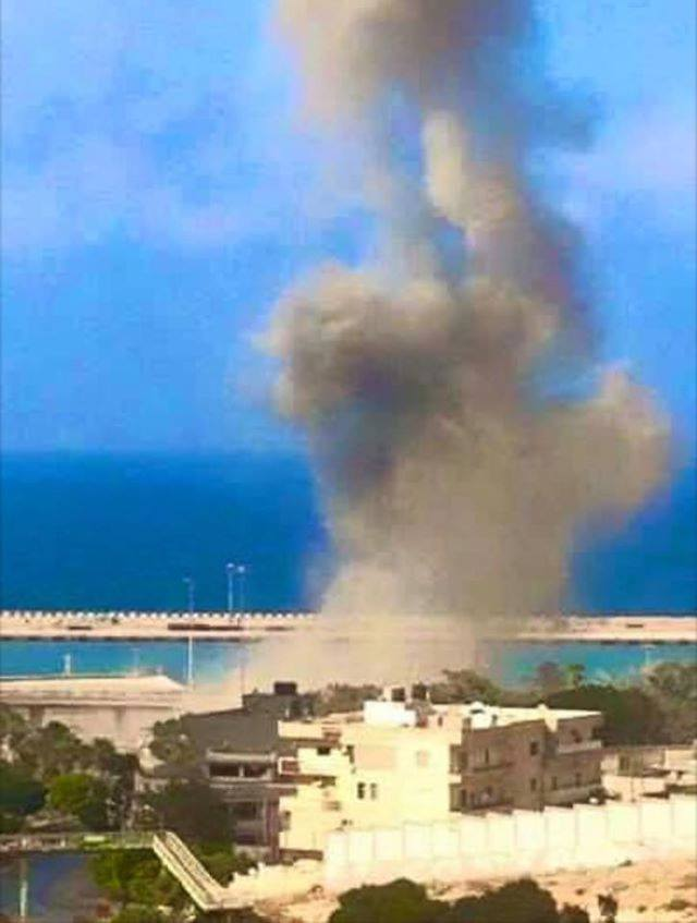 LIBYAN ARMY Military aviation bombardment of the port of Derna near the City Center