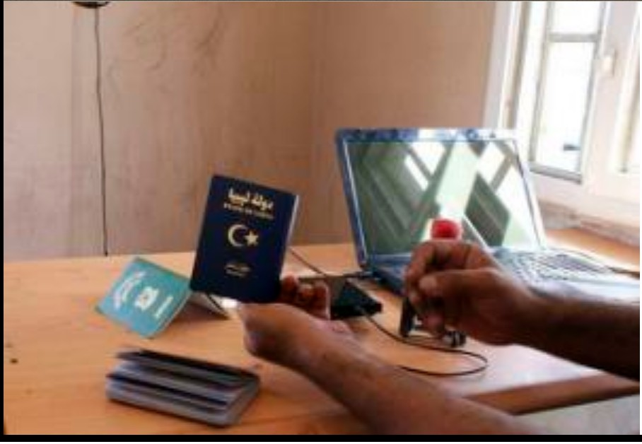 Libyan passports checked at customs office  at City of Five