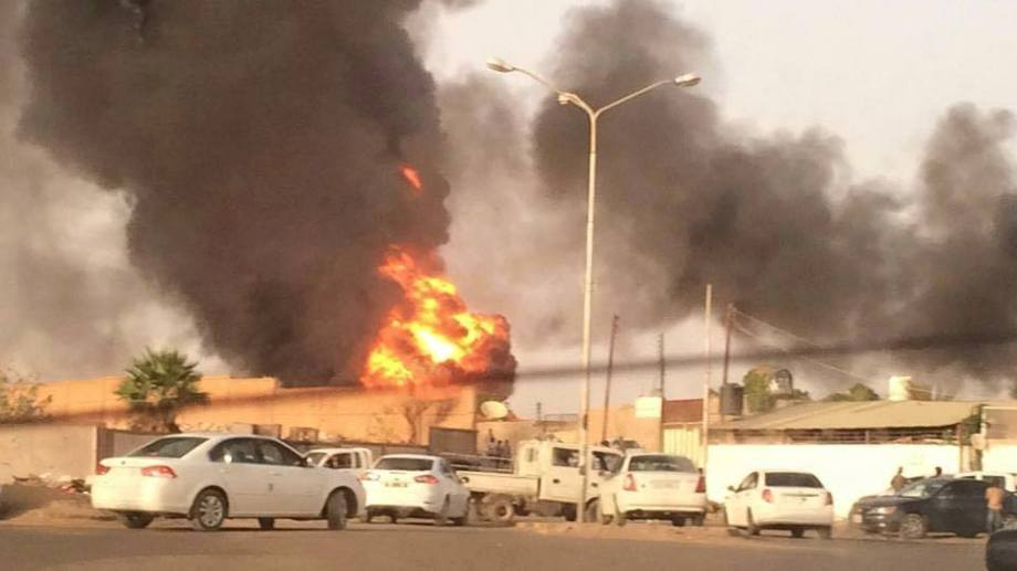 Sabha al-MAHDIA fire from auto fuel tanks 26 JUNE 2015
