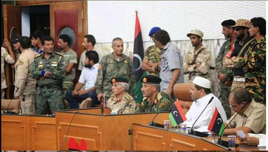 The RAT Miliary w Jadallah at the mike, leading them