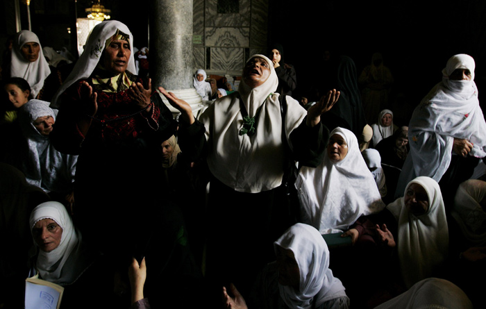 women offering first Friday prayers of the holy fasting month of Ramadan in the 'al-Aqsa Mosque', Jerusalem