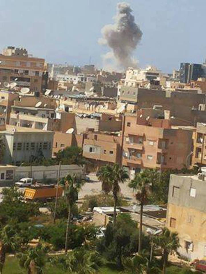 Libyan Airforce Warplanes bombed the concentration of the terrorist organization 'Daash' sites at the center of Souk al-Ihut and al-Sabri
