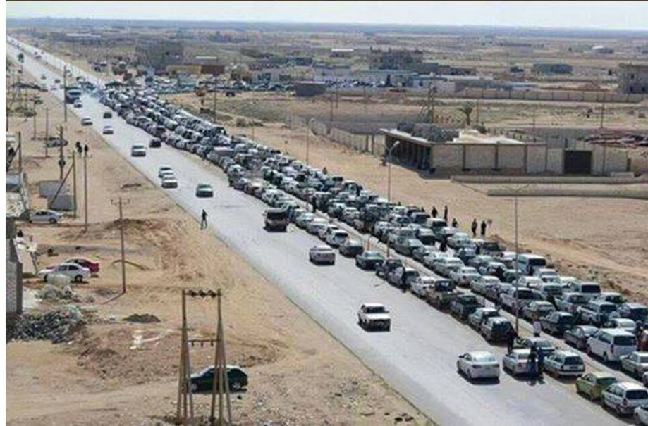 Lines for car fuel (gas) in AJDABIYA