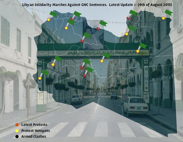 Libyan Solidarity  uprisings map for 04 AUGUST 2015