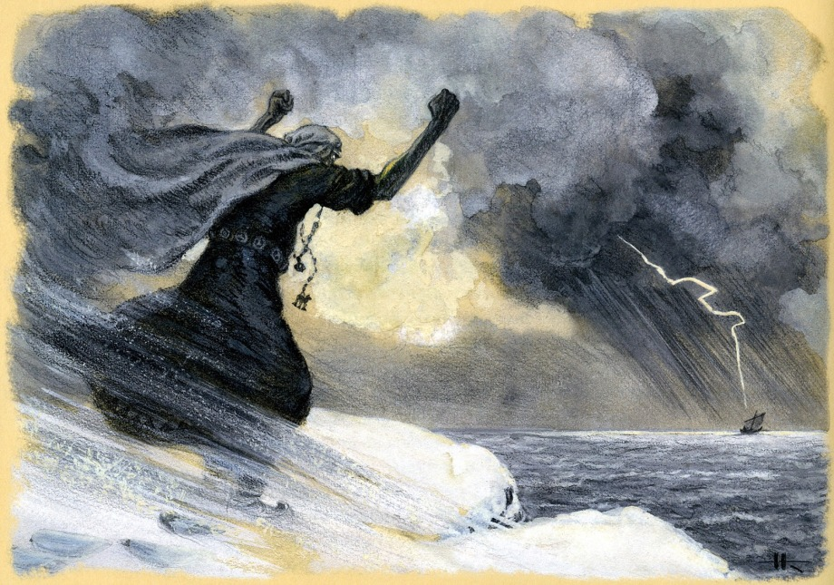 nicolai kochergin_kalevala_19_the mistress of pohjola chases the vainamoinens boat_01