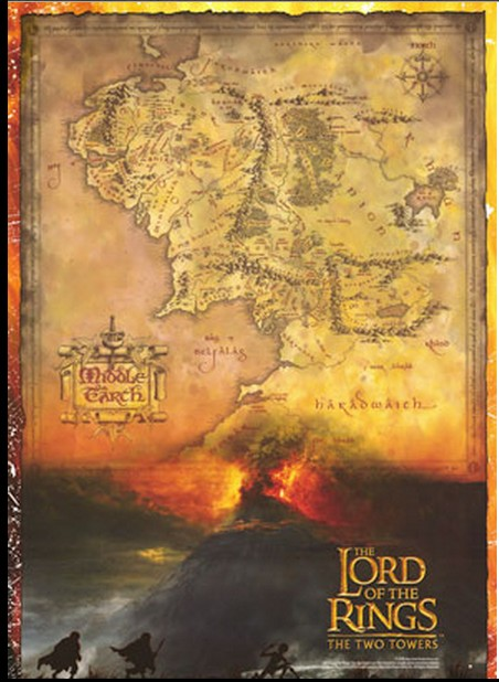 Tolkien's map of the earth part taking-in the actions occuring in LOTR