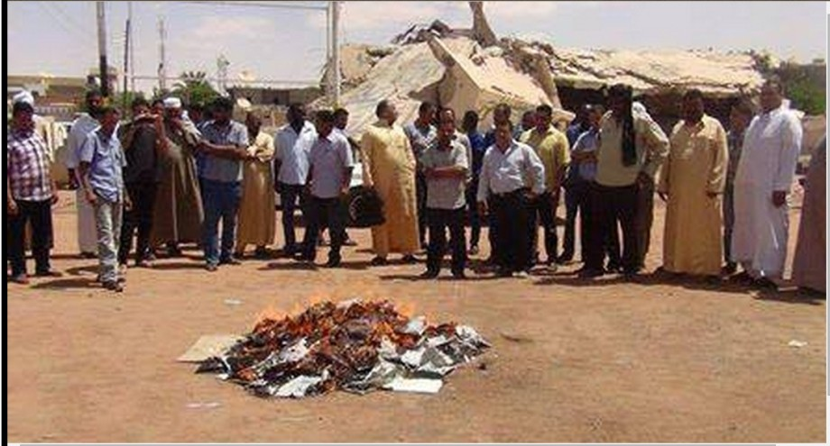al-JUFRA School Council burning Zionist textbooks formerly supplied to them under the GNC