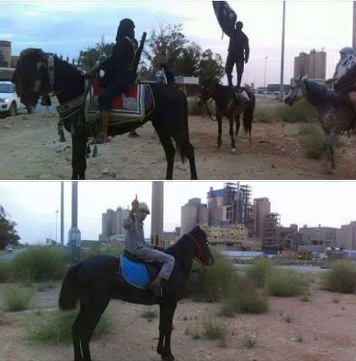 'DAASH' on horseback in Benghazi, 2